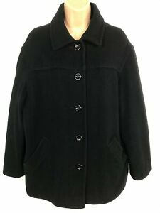 WOMENS-BHS-BLACK-BUTTON-UP-COAT-JACKET-WITH-COLLAR-SIZE-14