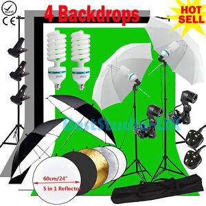 Photography Studio Backdrop Soft Umbrella Lighting Kit +Background Support Stand 712971337848