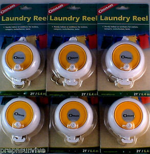 6 PK RETRACTABLE LAUNDRY REELS, 21' NYLON ROPE W 2 BRASS HOOKS EA. STURDY ABS