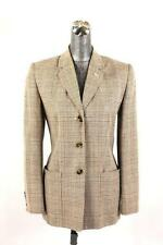 womens brown beige glen plaid TALBOTS blazer jacket silk linen classic retro S 6