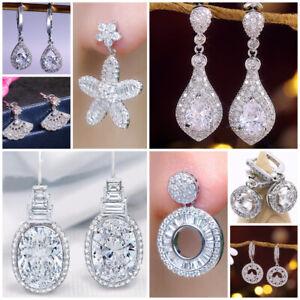 Multi-styles-925-Silver-Drop-Earrings-Women-White-Sapphire-Jewelry-A-Pair-set