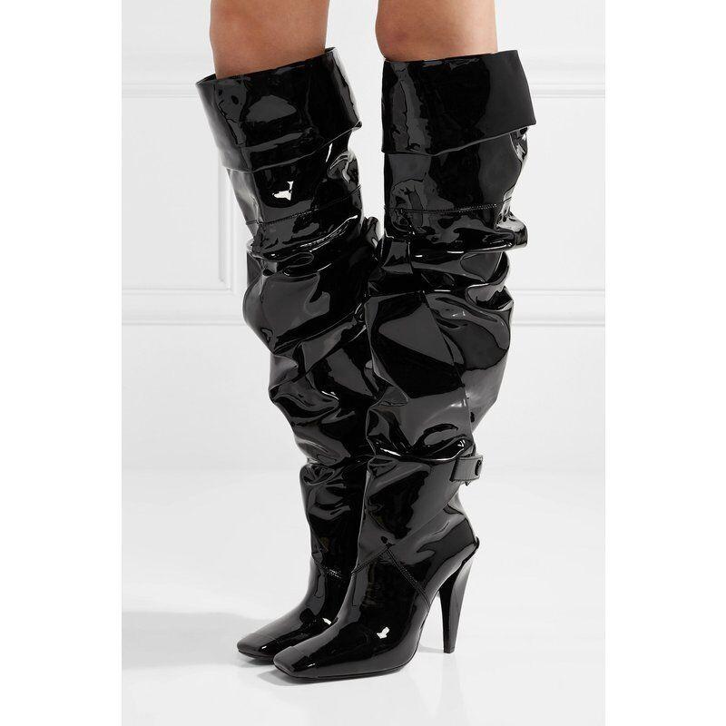 Fashion Lackleder Overkneestiefel Damenschuhe Boots High Heels Eckig Zehe 33-50