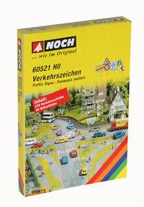 60521-Noch-HO-Verkehrszeichen-270-Verkehrsschilder-und-63-Rohrpfosten-sortiert