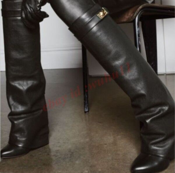 Women Pointy Toe Fold-Over Knee-High Boots Leather Casual Wedge Heels Hot Boots