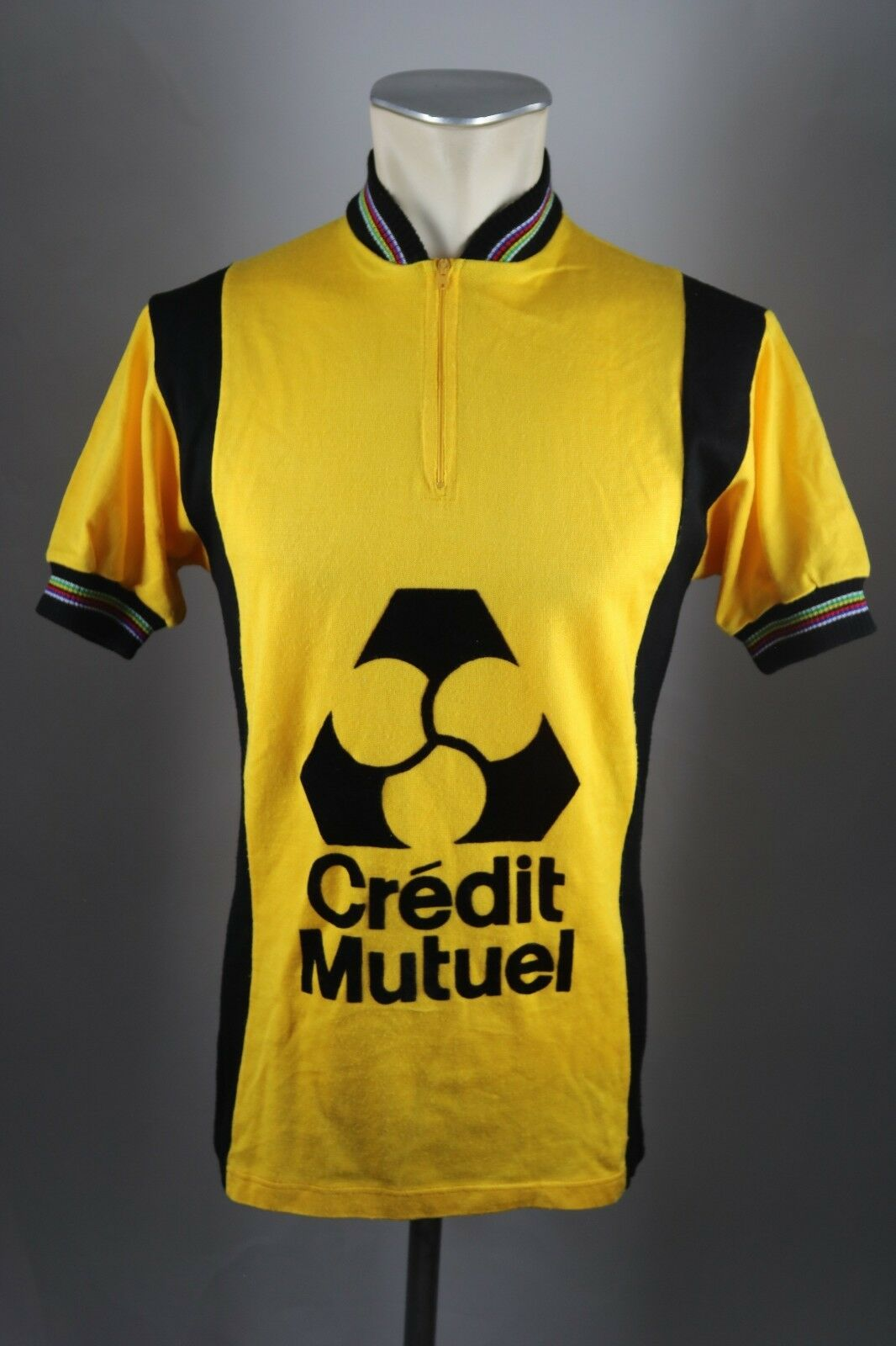 Vintage Radtrikot Credit Mutuel Gr. M  50cm cycling jersey Acrylic Wool Shirt F3  perfect