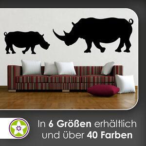 Waf1425-kiwistar rinocerontes silueta contorno murales en 6 tamaños
