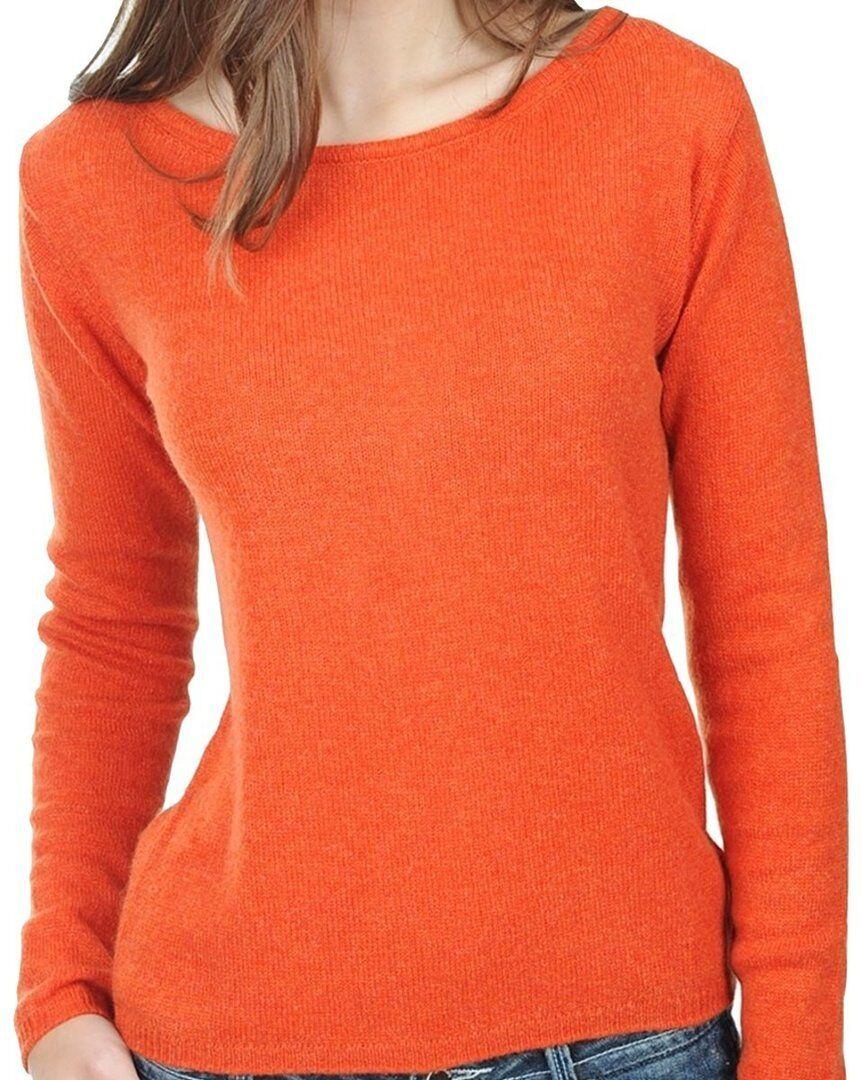 Balldiri 100% Cashmere Damen Pullover Rundhals 2-fädig Orange L
