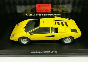 Details about 1/18 1974 Lamborghini Countach LP400 Yellow Kyosho Gorgeous  Collection