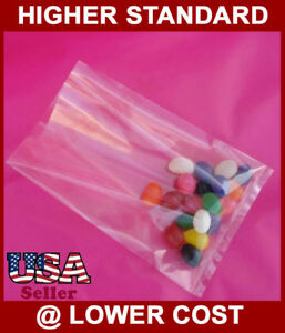 "1000 Pieces 3-3/4x3-3/4"" Polypropylene Bag Clear Flat Open Top PP Bags 1.75 Mil"
