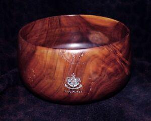 20th-Century-Curly-Koa-Hawaiian-Calabash-Bowl-with-Decal-8-5-034-d-x-4-5-034-h