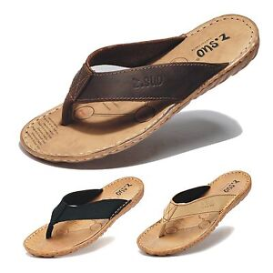 74519bbd4e3209 Handmade Men s All Leather Sandals Beach Brown Flip Flops Slippers ...