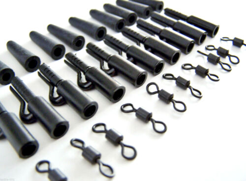 60pc Fishing Tackle carp weights safety clips Matt Black swivels for Hair rigs