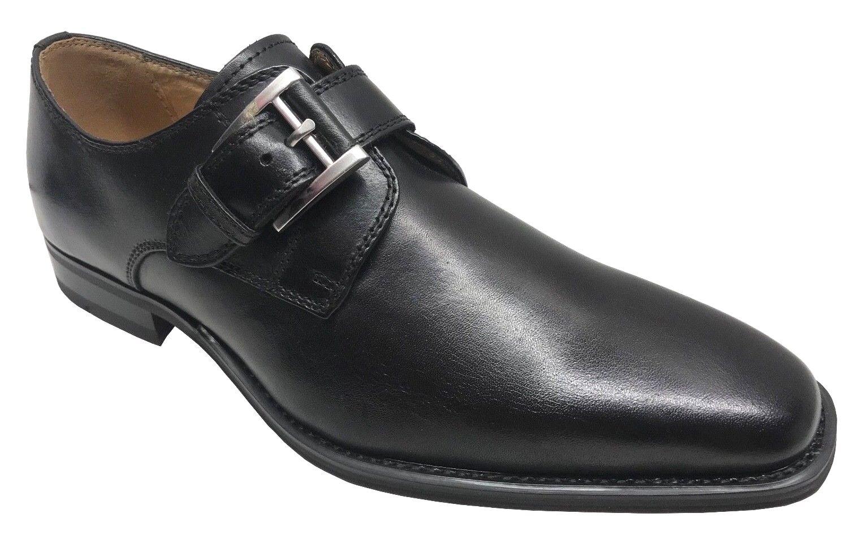 Moretti Men's Monk Strap Black Leather Dress shoes M31649