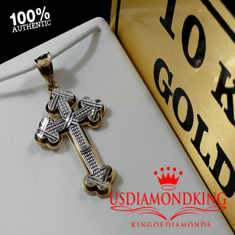 MEN'S WOMEN'S 10K 100% REAL TWO TONE gold JESUS CROSS CHARM PENDANT 1.5  2.5g