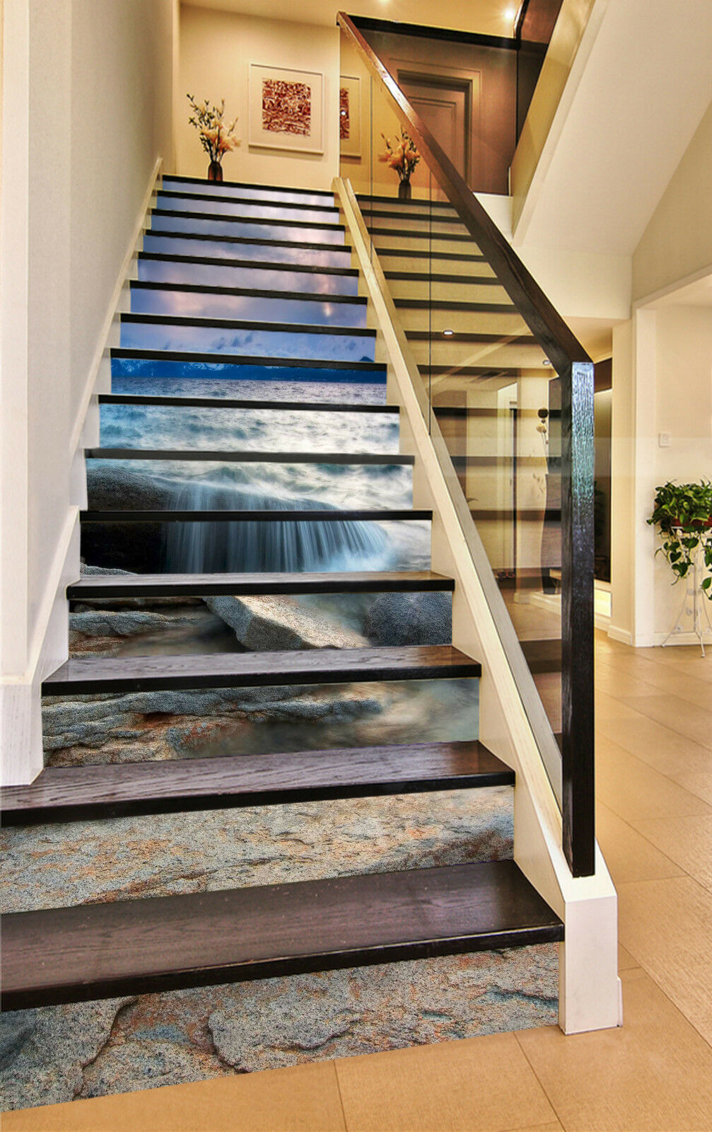 3D See Fels 2015 Stair Risers Dekoration Fototapete Vinyl Aufkleber Tapete DE