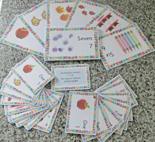 First Numbers 1-10 with pictures Educational learning flash cards