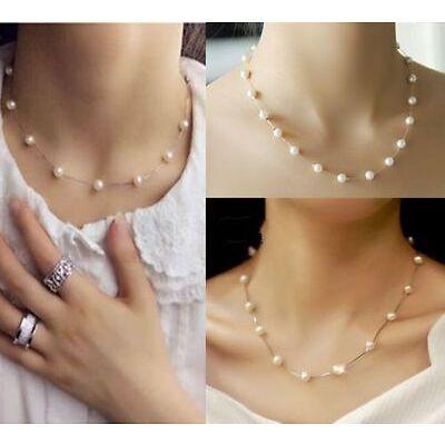Trendy Jewelry Choker / Chain Artificial Pearls Statement Bib Necklace