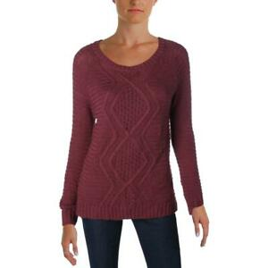 INC Womens Pointelle Metallic Long Sleeves Pullover Sweater Top BHFO 5524