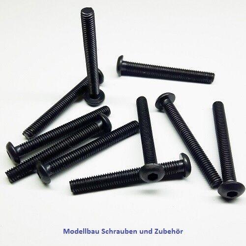 Stahl hochfest 10.9 ISO 7380 schwarz 10 Stück Linsenkopfschraube M3x25mm