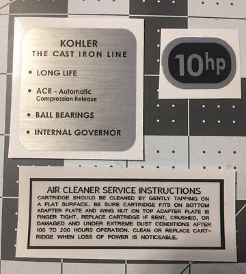 Kohler Engine early 8-hp Arctic Cat decals black and silver Set 3