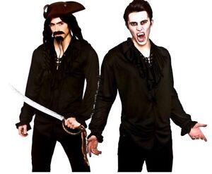 Camicia nera adulto Pirata Ruffle anteriore Halloween LINEA UOMO COSTUME VAMPIRO  </span>