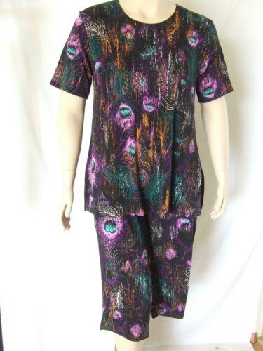 stretchy no-iron #137 Pink Travel Knit Capri Set short sleeve Tunic A-Line,NEW