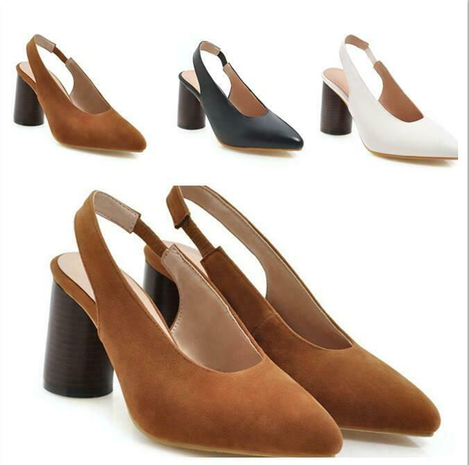 Women 2019 Spring Chunky Heels Faux Suede Slip On Grace Leisure Dance Bash shoes