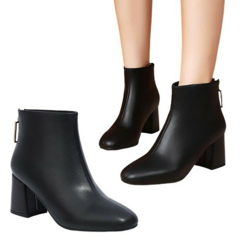 New Women Winter Autumn Fashion Korean Square Toe Mid Heel Chelsea Ankle Boots L