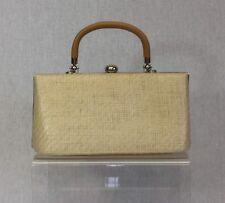 Farfalla Ladies Small Cream Beige Tan Brown Basket Weave Clasp Occasion Handbag