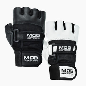 423d9d9ec Details about Weight Lifting Gym Padded Leather Training Workout Fitness  Double Strap Gloves