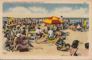 Postcard-Lolling-on-Sunny-Sands-Coney-Island-New-York-NY