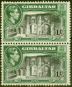 Gibraltar-1942-1s-Black-amp-Green-SG127bvar-Vertical-Line-before-Southport-Fine