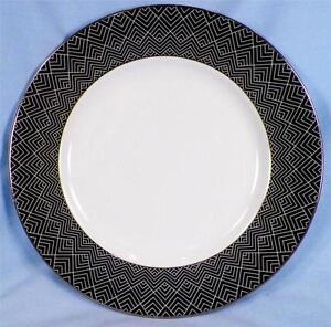 Ralph-Lauren-Hastings-Ebony-Salad-Plate-Porcelain-Black-Band-Zig-Zag-Lines