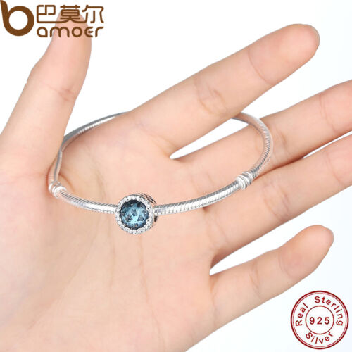 Authentic 925 Sterling Silver Charm Hearts Blue Crystal /& Clear CZ Fit Bracelets