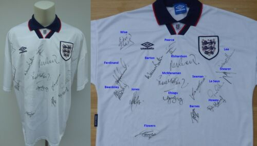 199394 England Home Shirt Squad Signed inc. Shearer, Seaman & Ehiogu 11690