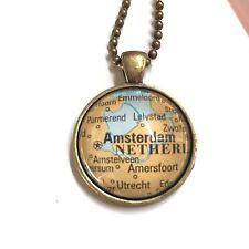 AMSTERDAM UTRECHT EDE NETHERLANDS EUROPE Map necklace pendant bronze f04 ATLAS