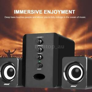 Sada D-202 2.1 USB Desktop PC Laptop Audio Player System Subwoofer - Black