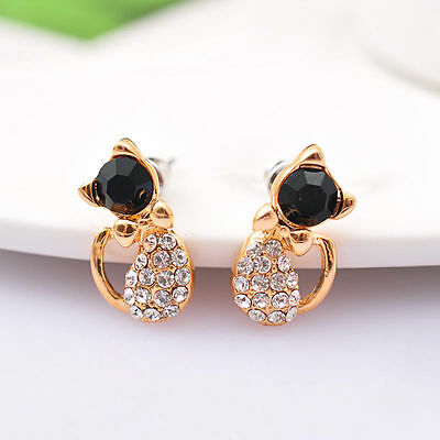 Cute Womens Crystal Rhinestone Cat Bow Ear Stud Earrings Girls Jewelry