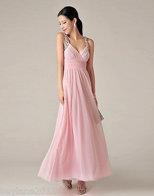 Buylane Party Wear Pink V-Neck Ankle-Length Sleeveless Pleated Beautiful Dress