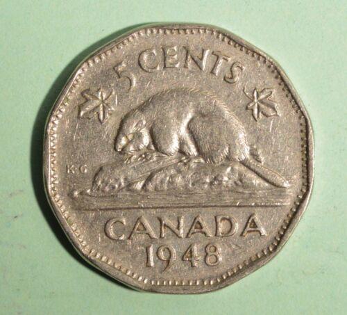 Circulated Nickel 1948 Nice Coin Album Collectable Canada 5 Cent