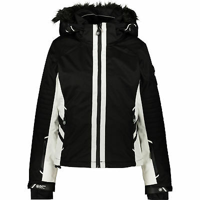 M SUPERDRY Women/'s White /& Black Padded Ski Jacket Coat UK 12