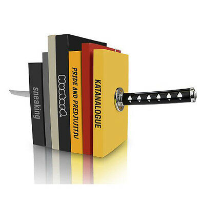Mustard Katana Bookends Magnetic Samurai Sword Book Ends Ninja Optical Illusion