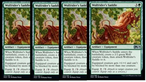 NM M20 Core Set 2020 Green Uncommon 4x Wolfrider/'s Saddle
