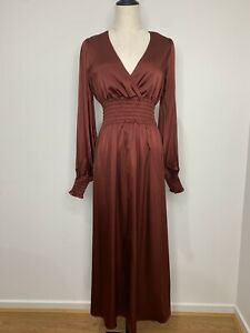 SEED-HERITAGE-Size-6-BNWT-Long-Sleeve-V-Neck-Silk-Maxi-Dress-RRP-299
