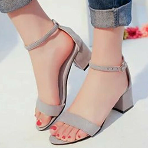 Women Summer Ankle Strap Chunky Mid Block Heels Shoes Suede Sandals Pumps Size