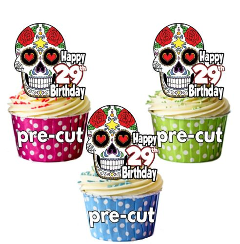 PRECUT Sugar Skull Gothic 12 Cup Cake Toppers Decorations Birthday Party ANY AGE