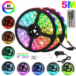 Waterproof-5M-16-4ft-300-LED-RGB-3528-SMD-Strip-Light-Flexible-12V-Remote-Power