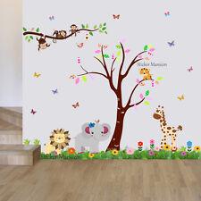 Monkey Animal Wall Stickers Jungle Zoo Safari Nursery Baby Kids Room Decal Art