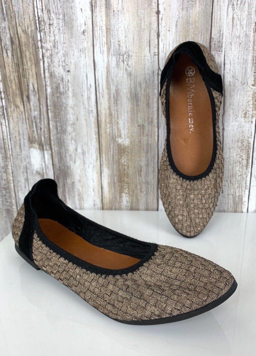 Bernie Mev Women's shoes Slip Ons Woven Semi Pointed Bronze Ballet Flats 38 7.5