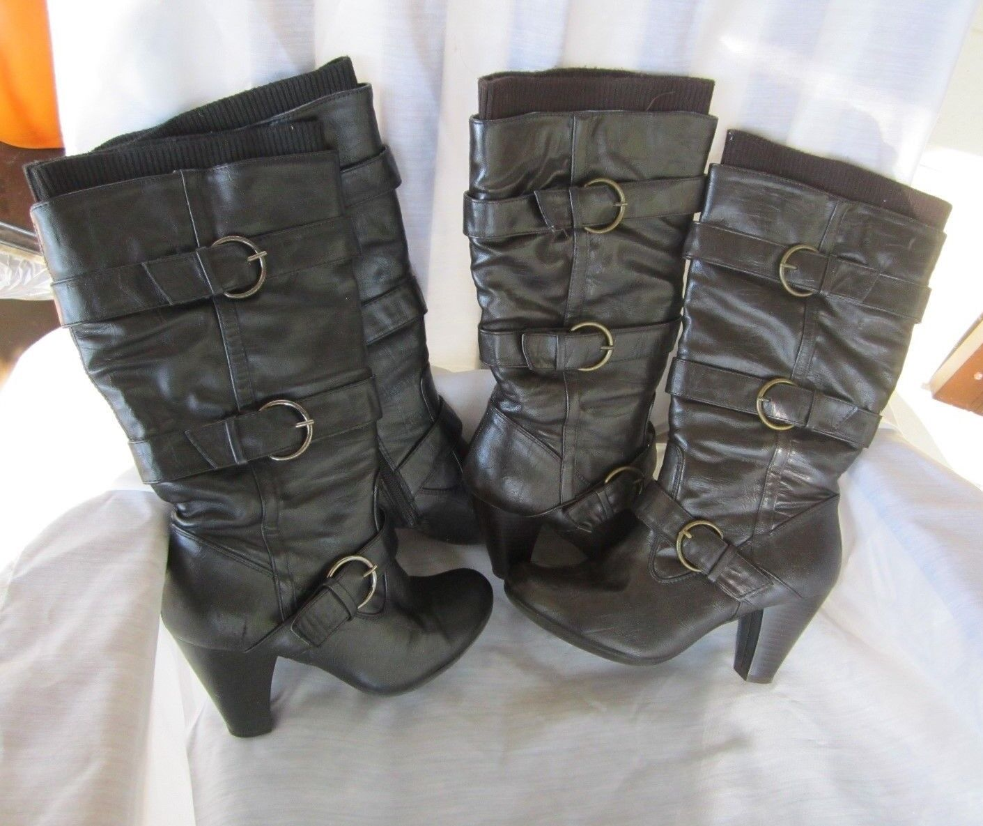 New Directions Boot 2 Pair Black Brown Size 6.5 Buckle Design